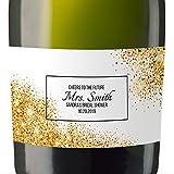 """Bridal Shower"" Mini Champagne Wine Bottle Custom Label Sticker for Bridal Shower Party, Engagement, Wedding Gift, Bachelorette, Elopement Invitation - Specialized Personalized Bespoke Set of 8"