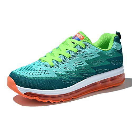 YAN XU Air Cushion Basketball Sports Shoes Running for Women&Men(Green,Women Size 5.5)