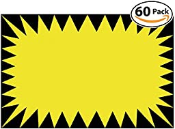 Retail Genius Price Burst 60 Yellow Sign Pack. Boost Sales with Bright Display Tags. Durable, Easy to Write On Star Cards Are For Yard, Estate & Garage Sale, Fundraiser, Store, Business & Flea Market.