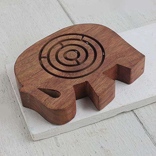 Wooden Labyrinth Maze Puzzle Board Toys and Games Easy to Learn and Play with 3 Metal Balls Rosewood for Kids Adults - Tile Rosewood Box