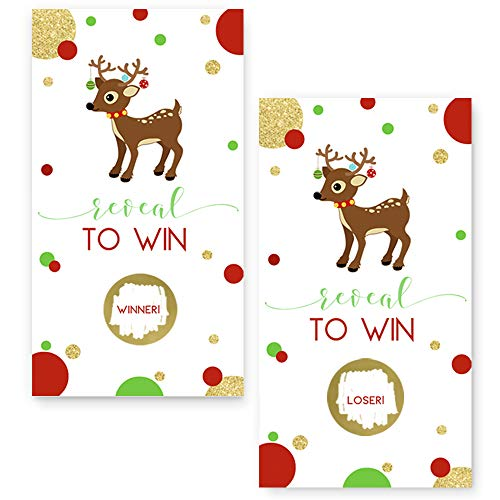 Christmas Reindeer Scratch Off Party Game Card (28 Pack)