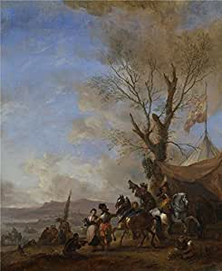 'Philips Wouwermans Cavalrymen halted at a Sutler's Booth ' oil painting, 30 x 37 inch / 76 x 93 cm ,printed on polyster Canvas ,this Replica Art DecorativeCanvas Prints is perfectly suitalbe for Bedroom gallery art and Home decor and Gifts
