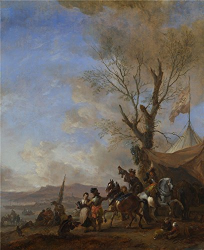 Polyster Canvas ,the Imitations Art DecorativeCanvas Prints Of Oil Painting 'Philips Wouwermans Cavalrymen Halted At A Sutler's Booth ', 10 X 12 Inch / 25 X 31 Cm Is Best For Game Room Artwork And Home Artwork And Gifts (Photo Booth Strip Costume)