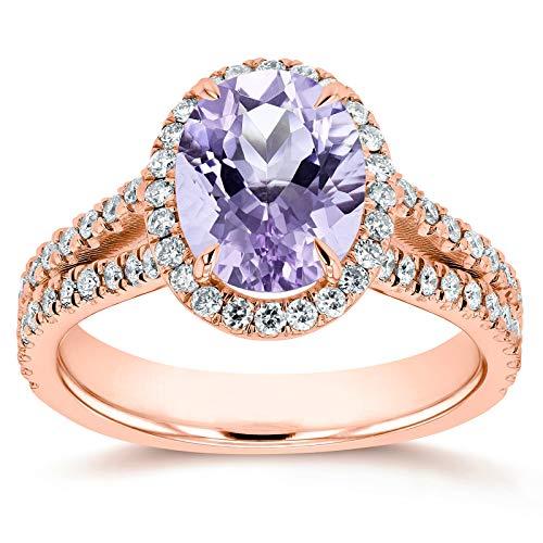 (Oval Cut Lavender Amethyst and Diamond Halo Split Shank Ring 2 CTW 14k Rose Gold,4)