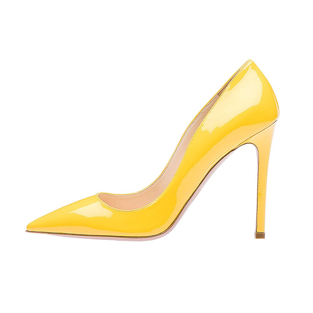 SexyPrey Women's Pointy Toe Stiletto Shoes Formal Office Evening Pumps B074M4M7ZQ 5 B(M) US|Yellow