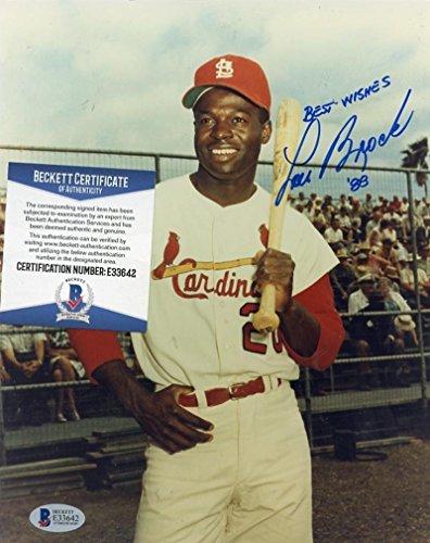 Lou Brock Autographed Photo - 88 8x10 Bas E33642 - Beckett Authentication - Autographed MLB Photos