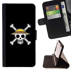 BullDog Case - FOR/LG OPTIMUS L90 / - / Design Happy Skull Smiley /- Monedero de cuero de la PU Llevar cubierta de la caja con el ID Credit Card Slots Flip funda de cuer