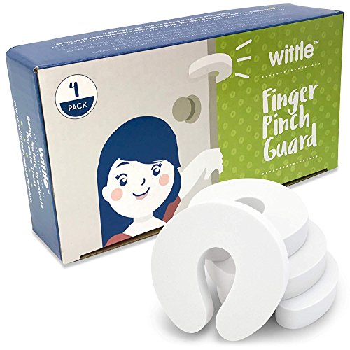 Wittle Finger Pinch Guard - 4pk. Baby Proofing Doors Made Easy with Soft Yet Durable Foam Door Stopper. Prevents Finger Pinch Injuries, Slamming Doors, and Child or Pet from Getting Locked in Room!