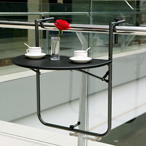ikayaa adjustable folding balcony deck table hanging patio railing table - Hanging End Tables
