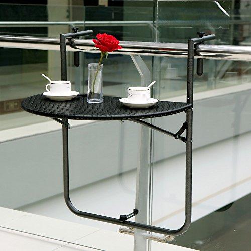 IKAYAA Klappbar Balkonhängetisch 60x40cm Polyrattan Design