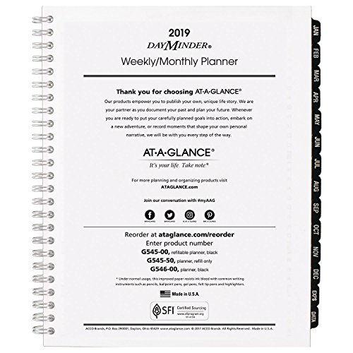 AT-A-GLANCE DayMinder Weekly/Monthly Refill for #G545 Line Planners, January 2019 - December 2019, 6-7/8'' x 8-3/4'', Executive, Wirebound (G54550) by At-A-Glance