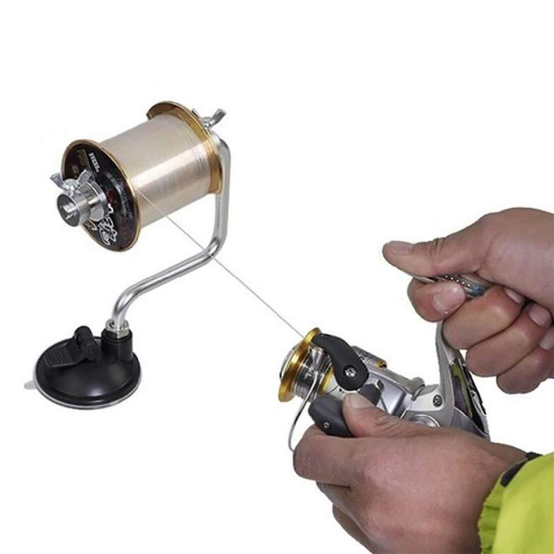 YSINFOD Aluminium Angelschnur Spooler Tragbare Angelschnur Wickler Reel Spool Tackle Tool Saugnapf Angelzubeh/ör