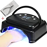 64W LED Nail Dryer-Lumcrissy Professional Quikly Dry LED Nail Lamp Curing Nail Dryer for LED Gel Nail Polish nail tool Salon Tool With Lifting Handle Touch Sensor LCD Screen With a Nail Nipper(Black)