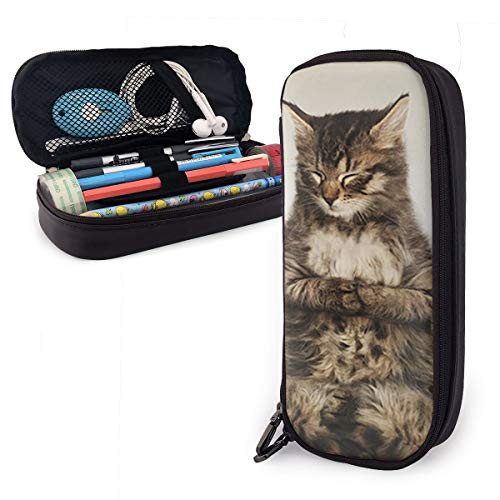 Kitten Cute Cats is Meditation Leather Pencil Case Made of High-Grade PU Leather,Elastic Band Fixation,Portable Design,Convenient ()