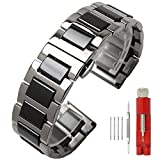 20mm Metal Watch Band Replacement Silver Watch Strap Stainless Steel Black Ceramic Watch Bracelet for Boys Girls Deployment Clasp