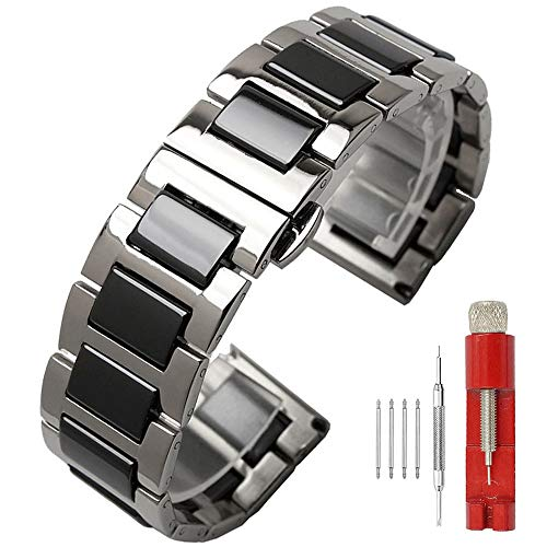 14mm Clasp - Watch Bands Black Stainless Ceramic Watch Band Silver Metal Strap Watch Bracelet Deployment Clasp 14mm Classy Stainless Steel Bracelet Women