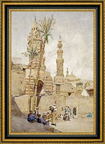 Framed Canvas Print Wall Art An Arab Street Scene, Cairo by Walter Tyndale - 16' x 24' Ready to Hang