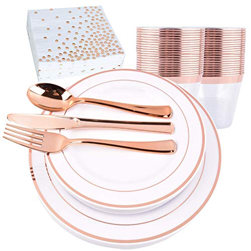175 Piece 25 Guests Rose Gold Disposable Plastic Dinnerware Set – 25 Rose Gold 10.25 inch Plates, 25 Rose Gold Desert…