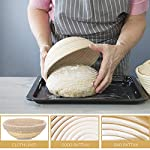 10 Inch Bread Proofing Basket - Banneton Proofing Basket + Cloth Liner + Dough Scraper + Bread Lame + Starter Recipe Set - Sourdough Basket Set For Professional and Home Bakers Artisan Bread Making 16 PERFECT SIZE FOR BAKING BREAD: 10-inch diameter x 3.5-inch height allows for 1.5lbs of dough for a medium to large size loaf ECO FRIENDLY MATERIAL: Made from 100% natural rattan and comply with US food standards, Lightweight, extremely durable and easy to use GREAT VALUE: Proving Basket + FREE DOUGH SCRAPER + FREE LINER + FREE BREAD LAME + FREE SOURDOUGH STARTER TUTORIAL