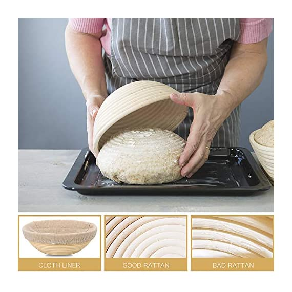 10 Inch Bread Proofing Basket - Banneton Proofing Basket + Cloth Liner + Dough Scraper + Bread Lame + Starter Recipe Set - Sourdough Basket Set For Professional and Home Bakers Artisan Bread Making 8 PERFECT SIZE FOR BAKING BREAD: 10-inch diameter x 3.5-inch height allows for 1.5lbs of dough for a medium to large size loaf ECO FRIENDLY MATERIAL: Made from 100% natural rattan and comply with US food standards, Lightweight, extremely durable and easy to use GREAT VALUE: Proving Basket + FREE DOUGH SCRAPER + FREE LINER + FREE BREAD LAME + FREE SOURDOUGH STARTER TUTORIAL