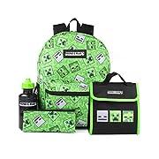 Minecraft Backpack For Kids | 4 Piece Creeper Green School Rucksack, Lunch Bag, Pencil Case & Water Bottle | Gamer…