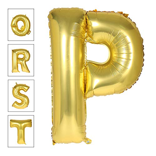 Lovne 40 Inch Gold Alphabet P Balloon Giant Balloons Helium Foil Mylar Huge Letter Balloons A to Z for Birthday Party -