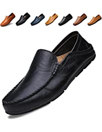 7926c03d9e1 Men s Premium Genuine Leather Casual Slip on Loafers Breathable Driving  Shoes Fashion Slipper