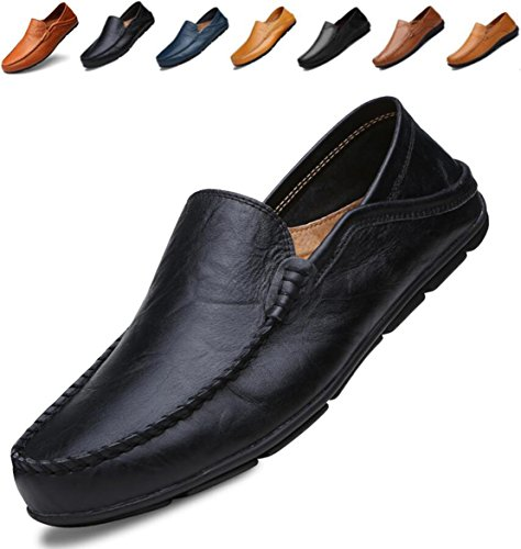 (Go Tour Men's Premium Genuine Leather Casual Slip On Loafers Breathable Driving Shoes Fashion Slipper Black 45)