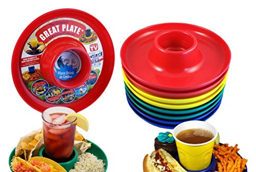 (Great Plate Food Beverage Plate Multi-Color, Red/Green/Blue/Yellow, 12 Count)