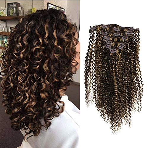 Full Shine 16 Inch Clip Extensions Human Hair Color #3 Dark Brown and #27 Highlight Blonde Remy Clip In 100 Gram 100% Brazilian Clip in Hair Extensions 7 Pcs Kinky Curly Clip Hair