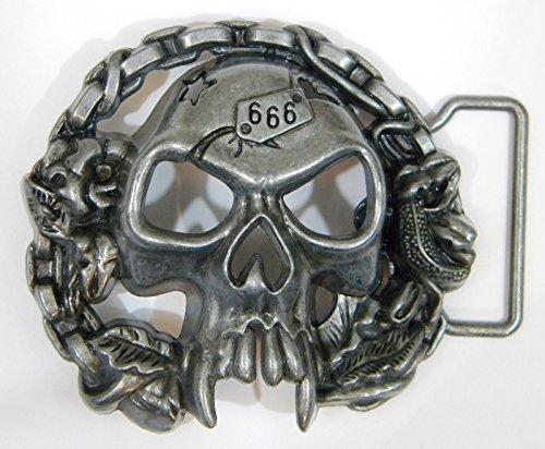 Skull 666 Belt Buckle, Die Cast, Pewter Finish