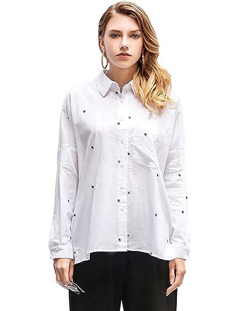 cd745ce1 IDEALSANXUN Women's Linen Button Down Shirt Loose Polka Dot Blouse at  Amazon Women's Clothing store: