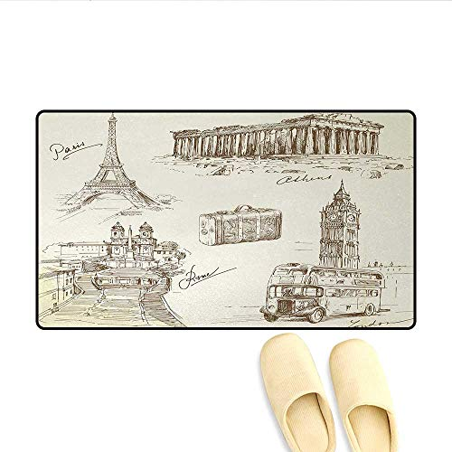 - Doormat,Sketch Art Collection of Travel Over European Landmarks and Vintage Style Suitcase,Bath Mat for Tub,Brown Cream,Size:20