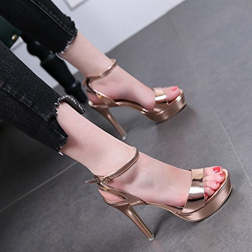 Heeled Summer color Champagne Champagne Women Sandals Shoes Toe High High Straps Waterproof Shoes MDRW Heels Fine With Wedding Party 11Cm RBHW8