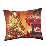 Collections Etc Decorative Christmas Pillow - Lighted Tree & Fireplace