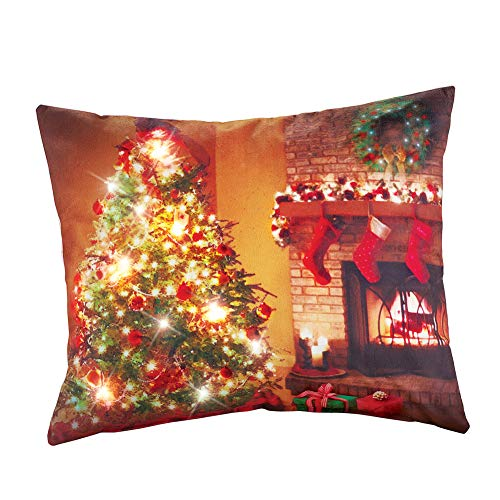 Collections Etc Decorative Christmas Pillow - Lighted Tree & Fireplace by Collections Etc