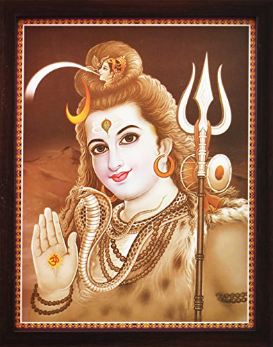 HandicraftStore Lord Shiva Doing Meditation on Himlaya with Holy Religious Shivling, a Poster Painting with Frame for Hindu Religious Worship Purpose by HandicraftStore