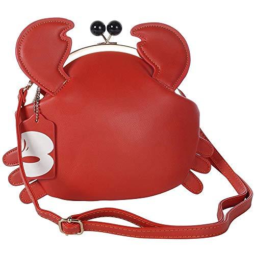 Haolong Women's PU Crab Clasp Closure Handbag Cute Satchel Shoulder Bag Pu Leather Bag (red) -