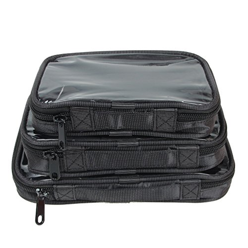 Damero Clear 3pcs/set Travel Carry Case/Electronic Accessories Organizer/Packing Cubes(Black)