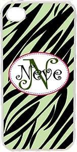 Curlz Monogrammed Light Green and Black Zebra Design on iPhone 4 4S Case Cover