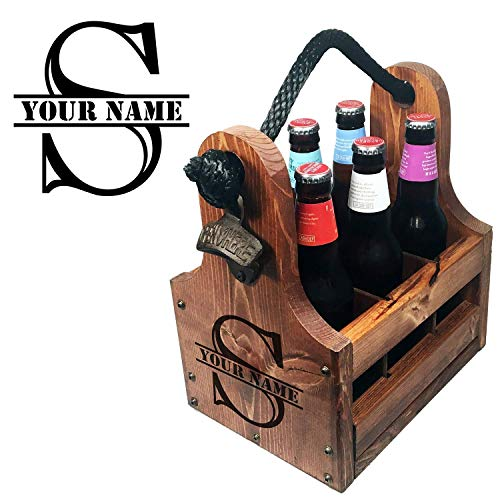 Wooden Bottle Caddy - Handcrafted solid wood 6 pack beer carrier with rustic cast iron bottle opener and magnetic cap catch. Personalized Gift perfect for Christmas, Birthdays New Years and more from Veteran Crafted