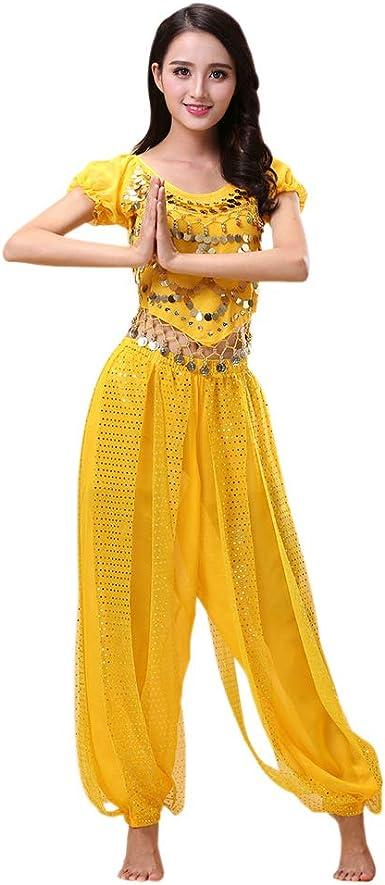 Deylaying Danza del Vientre Disfraz para Mujer - 2 Piezas Danza ...