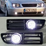 Led Fog Light Grilles White for Volkswagen 99 to 04 Jetta Bora MK4