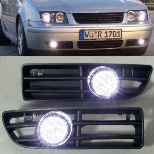 Led Fog Light Grilles White for Volkswagen 99 to 04 Jetta Bora MK4 PHgiveU