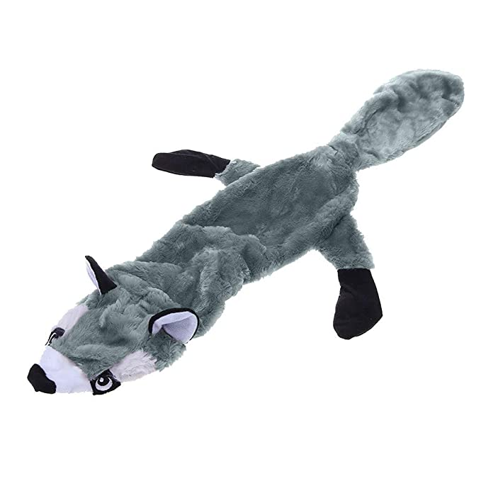 ADESHOP Animal Shape Pet Puppy Dog Toys Plush Sound Squeaker Chewing Toys Puppy Toys for Small Medium Dogs(Gray, M)
