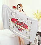 warmfamily Hope Adults Soft Absorbent Quick Dry Blanket Antique Anchor and Spiritual Symbol on Heart Motif with Faith Hope Love Quote Large Bath Towel Ruby Grey Beige
