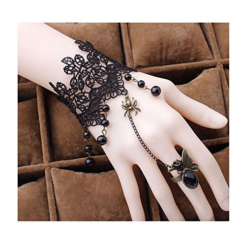 [Red Ape Gothic Lace Bracelet with Beads Pendant for Wedding,Halloween Masquerade,Girlfriend Gift on Valentine's] (Masquerade Dress)