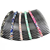 2 PCS 24-Teeth Acrylic Hair Comb With Flower Prints Slide Pin for Hair Styling(color random)