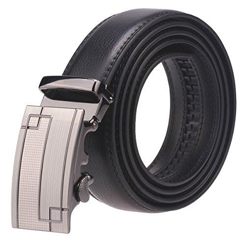 Fanshimite Men's Leather Belt Sliding Buckle Ratchet Belt -Black/Brown (55