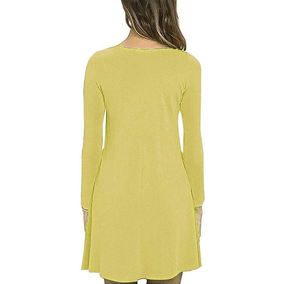 Luckycat Sólido Bolsillo de Manga Larga para Mujer Vestidos Largos Maxi Vestido Suelto de Camiseta: Amazon.es: Ropa y accesorios